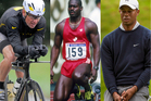 Lance Armstrong (left), Ben Johnson (centre) and Tiger Woods (right). Photo / AP