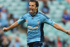 Alessandro Del Piero of Sydney FC celebrates after scoring a goal during the round 17 A-League match between Sydney FC and the Wellington Phoenix. Photo / Getty Images.