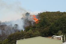 Fire along the ridge at Ostend, Waiheke, which threatened homes and the Stonyridge Vineyard. Photo by Stuart Weekes,