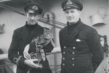 Lieutenant Commander J Finch and Lieutenant N Blair with Tabs the cat on the HMNZS Scarba, World War Two era. Photo / supplied