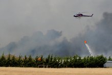 Helicopters fight fires in the Prebbleton area of Canterbury near Christchurch last week. Photo / Supplied