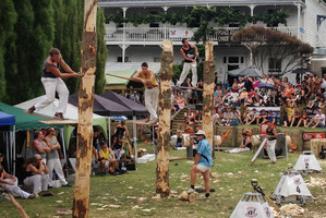 The axemen and parochial pride came out for the first event of Puhoi's 150-year celebrations. Photo / Richard Robinson