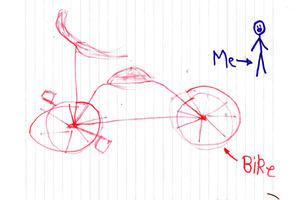 Robbie's letter to Tower arrived with money and a drawing of his bike. Photo / Supplied