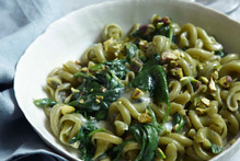 Green Pasta with Blue Cheese from Nigellisima by Nigella Lawson. Photo / Supplied