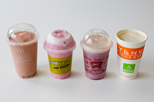 A large McDonald's Bananaberry Bash Smoothie has the equivalent of 20 teaspoons of sugar. Photo / Dean Purcell