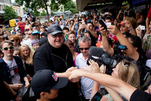Kim Dotcom at a launch event for his new website. Photo / NZ Herald