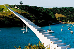 A sculpture on the Gulf, titled Walkway to the Main Land.