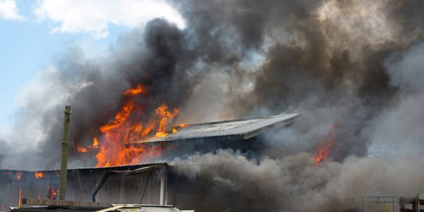 Firefighters battled a large blaze in a shed on Tara Rd, Papamoa. Photo / APN