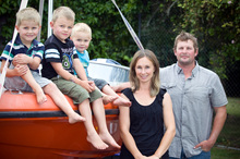 Boaties Radley and Janelle Hungerford with their children, Asher, 2, Kaylin, 4, and Kiah, 5. Photo / Michael Craig