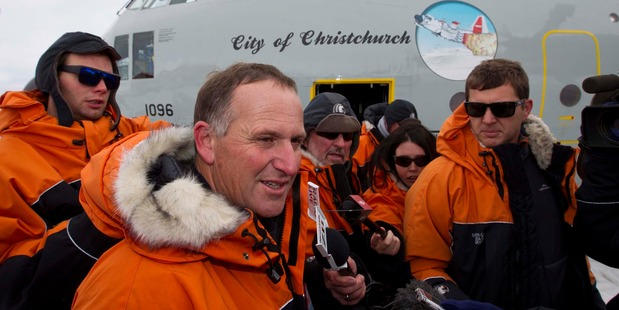 John Key at the Pegasus landing strip last night. Photo / Alan Gibson