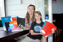Claire Huddart, with her daughter Zoe Harris, does not have the time to track down school stationery bargains. Photo / Chris Loufte