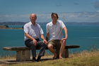 John Laurence (left) and Darren Parsons, who are leading the idea of restoring mussel beds, at Achilles Point, overlooking the Hauraki Gulf. Photo / Sarah Ivey
