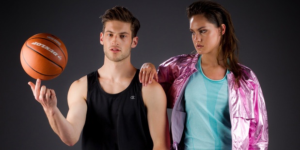 Look number three: Champion training singlet with adidas printed sweat pant (left). Nike tank top and tights with adidas by Stella McCartney metallic jacket. Photo / Greg Bowker