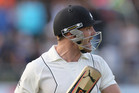 New Zealand captain Brendon McCullum reacts after being dismissed by South Africa's Robin Peterson. Photo / AP