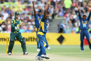 Sri Lanka's Nuwan Kulasekara ripped through Australia's batting order. Photo / AP