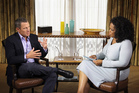 Talk-show host Oprah Winfrey interviewing cyclist Lance Armstrong. Photo / AP