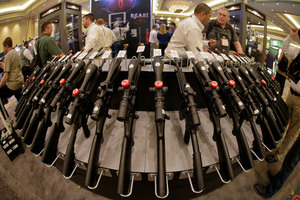 Sales at gun shows like this one in Las Vegas escape any kind of criminal background check on buyers. Photo / AP