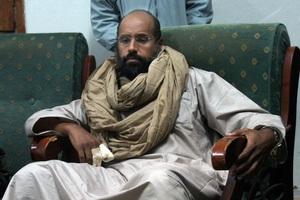 Saif al-Islam is seen after his capture in the custody of revolutionary fighters in Zintan, Libya. Photo / AP