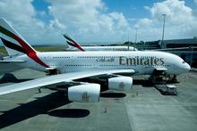 The Emirates A380 super jumbo planes. Photo / NZ Herald