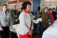 Education Minister Hekia Parata arriving at the PPTA (Post Primary Teachers Association) annual conference 2012. Photo / Mark Mitchell