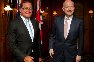 Foreign Minister Murray McCully (left) and William Hague, Secretary of State for Foreign and Commonwealth Affairs for Great Britain. Photo / Sarah Ivey