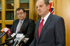 Labour Party leader David Shearer (right), with deputy leader Grant Robertson. Photo / NZ Herald