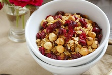 Hazelnut cranberry muesli with buttered apples. Photo / Babiche Martens