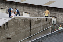 A man was arrested and likely to face charges after trying to evade police by running along rooftops in the Hastings CBD yesterday. Photo / Warren Buckland