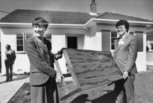 In the 80s, housing minister Helen Clark reprised 1949 with MP Peter Neilson. Photo / NZ Herald.