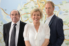 Robyn Malcolm, with Roy Billing and Adam Gardiner, works as a real estate agent in Agent Anna. Photo / TVNZ