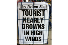 Someone got a bit carried away with this poster headline. Photo / Supplied