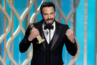 Ben Affleck delivers an acceptance speech at the Golden Globes. Photo/AP