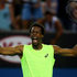 Gael Monfils of France celebrates winning a point in his first round match against Alexandr Dolgopolov of the Ukraine. Photo / Getty Images