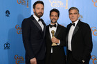 Ben Affleck, left, and Argo producers Grant Heslov and George Clooney. Photo/AP