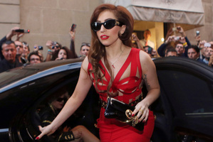 Lady Gaga arrives at the Versace atelier in Milan, Italy. Photo/AP