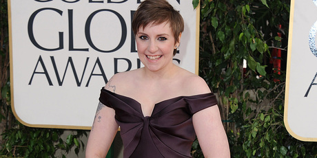 Lena Dunham at the Golden Globe awards. Photo/AP