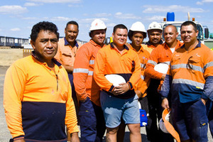These men lifted the ute off the crushed motorist. From left, Robert Leilua, Tee Kefu, Amine Kay, Anaru Manu, Blake Kefu, Mafi Kefu, Matt Hapeta, Ralph Williams and Wayne Faapito. Photo / Courier Mail