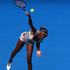 Venus Williams of the United States serves in her first round match against Galina Voskoboeva. Photo / Getty Images