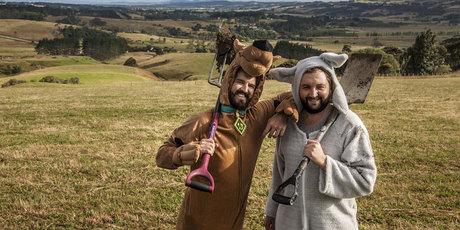Jimi Hunt (l, Scooby Doo) and Dan Drupsteen (Where the Wild Things Are) preparing to build the world's biggest waterslide near Helensville, west of Auckland. Photo / Sam Stratton