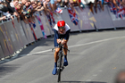 Great Britain's Bradley Wiggins riders to gold medal in the individual time trial at the London Olympics. Photo / Mark Mitchell
