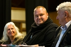 From left, Dame Anne Salmond, Kim Dotcom and Dr Rodney Harrison QC spoke to 500 people at a meeting against the Government's spy bill last night. Photo / Greg Bowker