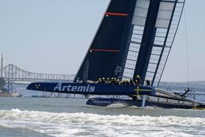 The Artemis Racing crew are happy with the boat's foiling but are cautious about the semifinals. Photo / AP