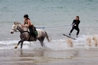 A love of horses and wakeboarding has seen a Northland equestrian duo combine raw horse power with the exhilarating watersport. Good mates Chloe Phillips-Harris, a full time horse trainer in Kawakawa, and Nikita Osborne, a vet and horse rider in Kerikeri, have trained a wild Kaimanawa horse to gallop through the surf with a wakeboarder skimming along behind.