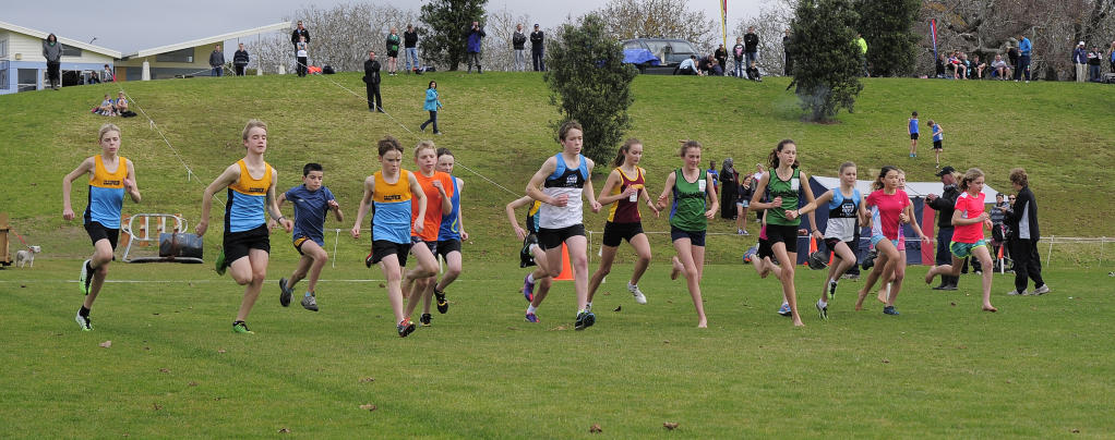 Young club members get the Cross Country Championships under way.