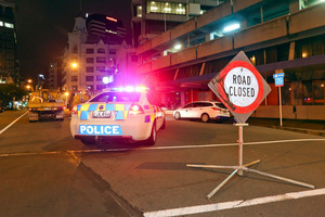 The entrance to Featherston Street is cordoned off after sustaining earthquake damage. Photo / Getty