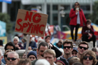 Protestors at a rally against the proposed new legislation that will give the New Zealand Government greater power to collect private information about it's citizens. Photo / Chris Loufte