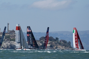 The crews in the Red Bull Youth America's Cup cannot use the AC45s until August 12. AP