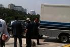The SUV hit a truck near where John Key had been speaking. Photo / Newstalk ZB