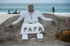 A sand sculpture of Pope Francis sits on Copacabana Beach, Rio de Janeiro, ahead of the Pontiff's visit. Photo / AP