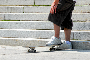 Imagine a skateboard with four extra wheeles for going down stairs. Photo /  Thinkstock